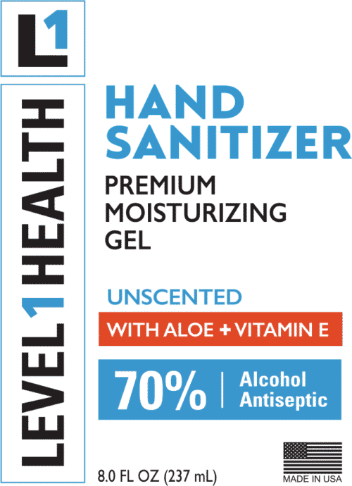 8 oz Level 1 Health - Premium Hand Sanitizer Gel - Pump - Front Label